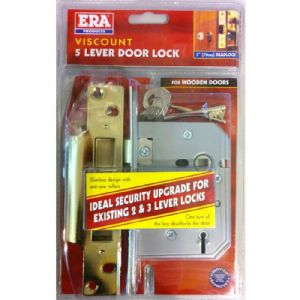 SASH LOCK VISCOUNT 5 LEVER BRASS 3in 302-32 ERA